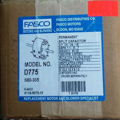 Fasco D775 HVAC Blower Motor 1/5 - 1/8 HP 208V Double Shaft - FAST SHIP - NEW!