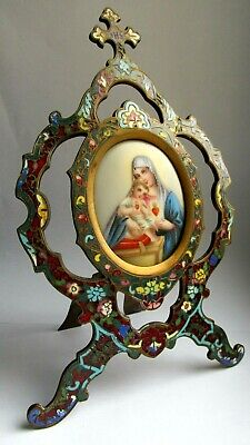 Antique Russian Bronze and Enamel icon Mother / Madonna & Child Miniature Plaque