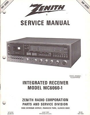NEW Service Manual Heathkit/Zenith Hi Fi Stereo Receivers MC6060-1 52 pages