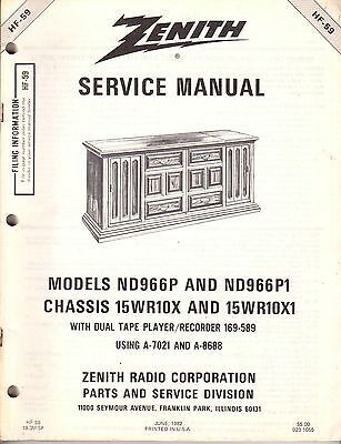 NEW Service Manual Heathkit/Zenith Stereo w Tapes HF-59 ND966 15WR10x 112 pages