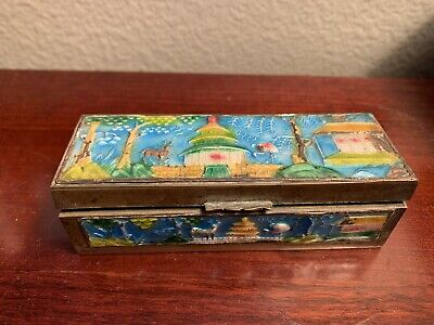Antique Chinese Metal Box Early 1900's Multicolor Hand Painted 3 Compartment Wow