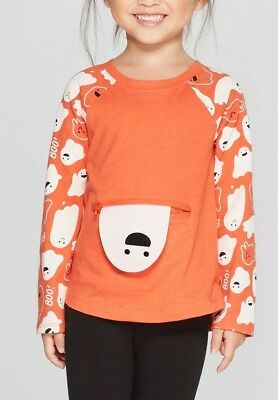 Peek A Boo Ghost Halloween Orange Toddler Girls Pocket Shirt 12m
