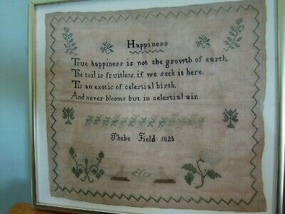 """1825 Phebe Field American Sampler Titled """" Happiness """" Found In Massachusetts"""