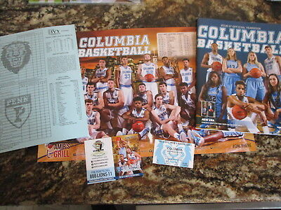 Columbia 2017 Mens  Ncaa Basketball Lot Poster Schedule Yearbook Ticket Stub