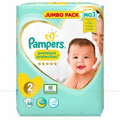 68 Pampers Size 2 Baby Premium Protection Nappies Jumbo Pack Nappy