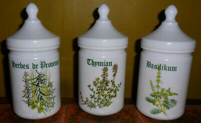 French White Milk Glass Herb Jar Containers with Lids