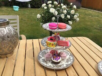 Lovely 3 Tier Wedge wood Cake Stand for Afternoon Teas Weddings And Parties