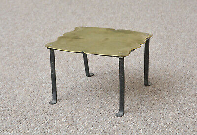 antique old brass trivet vintage brass/ iron  kettle pot stand - FREE POSTAGE