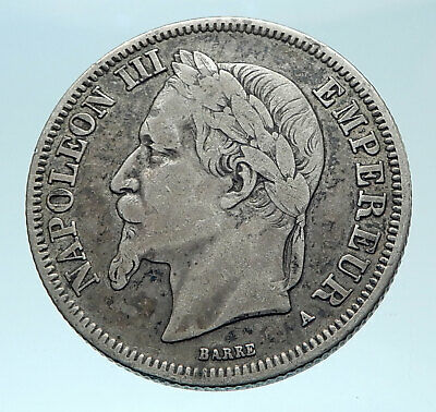 1867 FRANCE Emperor NAPOLEON III Geniune Old Silver 2 Franc French Coin i78346