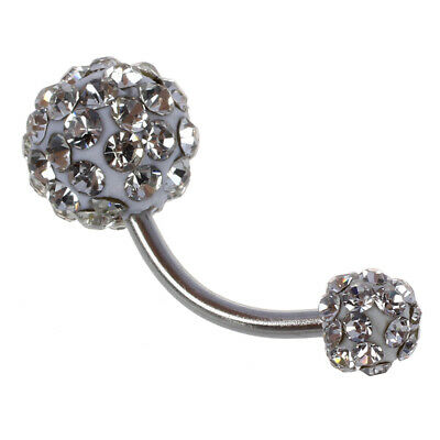 10X(Bling Rhinestone Crystal Ball Navel Belly Button Ring Stainless Steel Body P