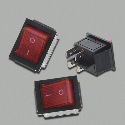 10X(Red Light Illuminated 4 Pin DPST ON/OFF Snap in Rocker Switch 16A 20A 250V A