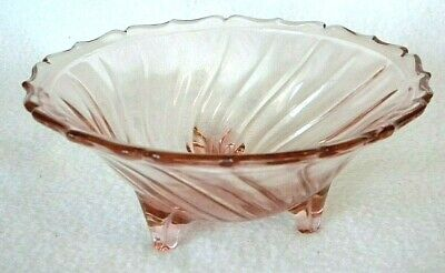 Vintage PINK Depression Glass Swirl 3 Footed Bowl w/ Scallop Edge