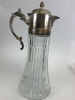 Vintage Silver Plated Heavy Lead Pressed Glass Water Pitcher Carafe Wedding