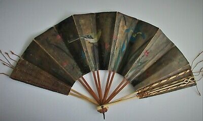 antique,19th Century,JAPANESE,folding,hand,fan,2 sided,HANDPAINTED,HANDSTITCHED