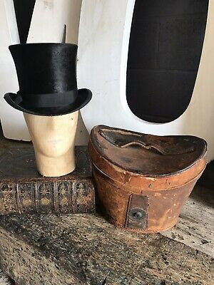 Antique Silk Black Top Hat And Leather Case Victorian 19th Century