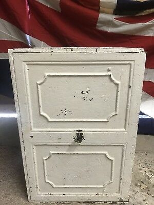Antique Victorian 19th Century Cast Iron Solid Safe With Key White Strong Box