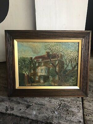 Antique Oil Board Painting Original William Hogarth House Arts And Crafts
