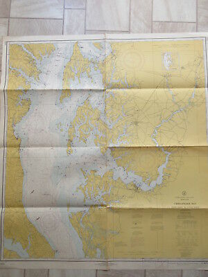 vintage NAUTICAL CHART CHESAPEAKE BAY COVE POINT to SANDY POINT MARYLAND 1968
