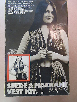 SUEDE & MACRAME VEST KIT vintage 1972 in box RARE NOS