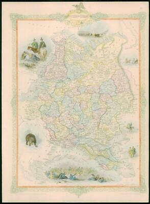 """1850 RARE Antique Map of """"RUSSIA IN EUROPE""""  by TALLIS FULL COLOUR (74)"""