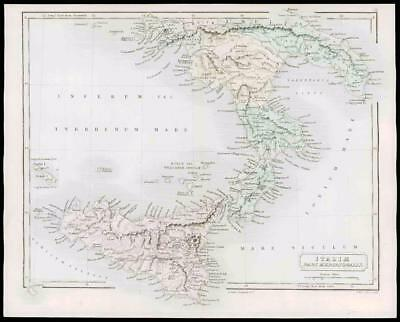 1864 - Original Antique Map of SOUTHERN ITALY - ITALIE SICILY  (07)