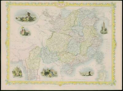 "1850 - RARE Original Antique Map of ""CHINA BURMA"" by TALLIS - FULL COLOUR (16)"