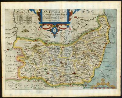 1607 - RARE 1st Edition Original Antique Map SUFFOLK by Saxton Kip/Hole