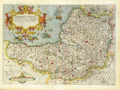 1607 - RARE 1st Edition Original Antique Map SOMERSET by Saxton Kip/Hole