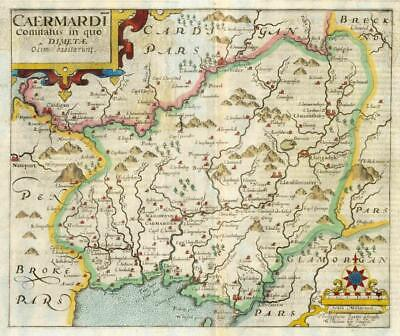 1607 - RARE 1st Edition Antique Map WALES CARMARTHENSHIRE by Saxton Kip/Hole