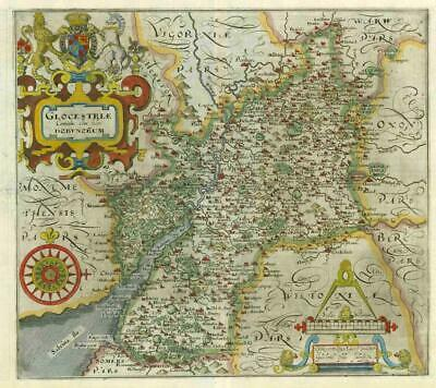 1607 - RARE 1st Edition Original Antique Map GLOUCESTERSHIRE by Saxton Kip/Hole