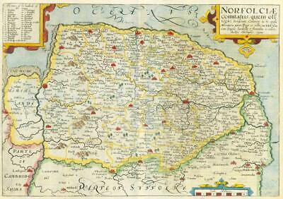1607 - RARE 1st Edition Antique Map NORFOLK by Saxton Kip/Hole