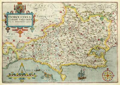 1607 - RARE 1st Edition Antique Map DORSET Dorsetshire by Saxton Kip/Hole