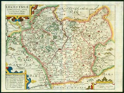 1607 - RARE 1st Edition Antique Map LEICESTERSHIRE by Saxton Kip/Hole