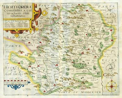 1607 - RARE 1st Edition Antique Map HERTFORDSHIRE by Saxton Kip/Hole