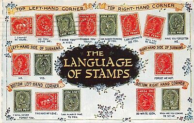 Postcard  Comic  The  Language  Of  Stamps