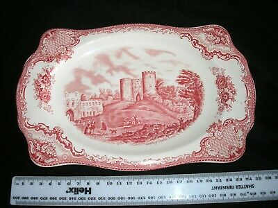 Old Britain Castles Red/White Sandwich Plate by Johnson Bros.  Size 26.5 x 17 cm