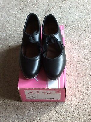 Black Leather Ladies / Girls  Tap Dancing Shoes, cuban heel. SIZE 2.5