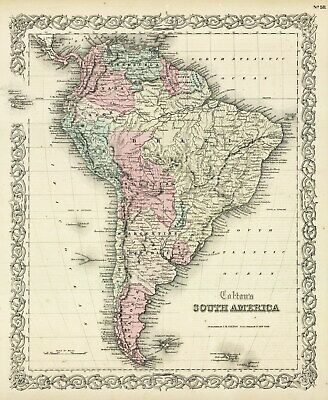 1860 Colton South America  (Original Hand Colored Antique Map)