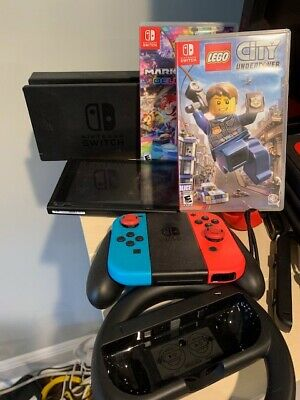 Nintendo Switch Neon Blue and Red Joy Home Console Bundle