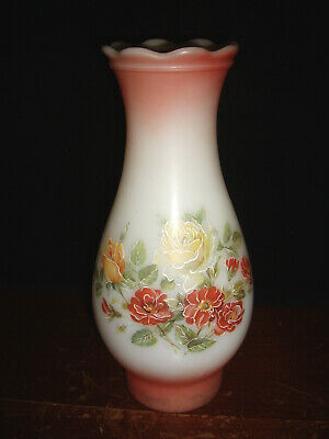 """Vintage Milk Glass & Pink Floral Hurricane Style Lamp Shade for 3"""" Fitter"""