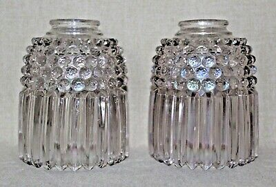 """Antique Art Deco Jefferson Glass Lamp Shade 2 1/4"""" Mount Clear 1912 Crystal"""