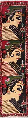 RARE Pictorial Runner Balouch Afghan Oriental Rug Hand-Knotted Wool Carpet 1'x5'