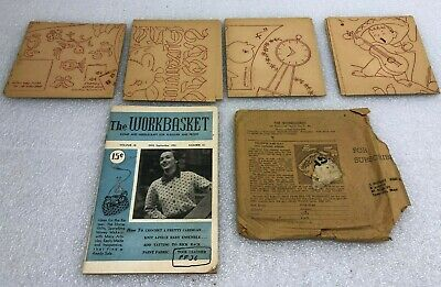 Vintage 1951 51 lot of 4 Workbasket Patterns w/ Subscriber Envelope & Magazine