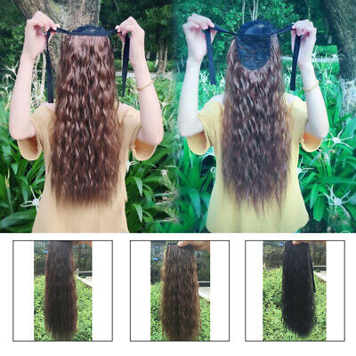 Corn Long Wavy Soft Ponytail Curly Tie on Hairpiece Synthetic Hair Extensions
