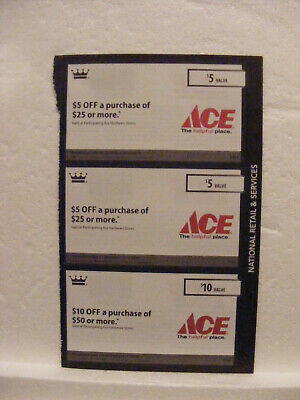 3 coupons for Ace Hardware | Two $5 off $25 | One $10 off $50 | Exp Dec 2019