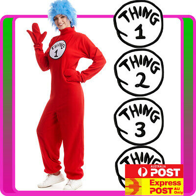 Ladies Thing 1 Thing 2 Costume Cat In The Hat Book Week Dr Seuss Jumpsuit + Wig