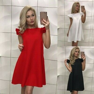 Summer Womens Sexy Solid Sleeveless O-Neck Lotus Sleeves Cocktail Mini Dress CA