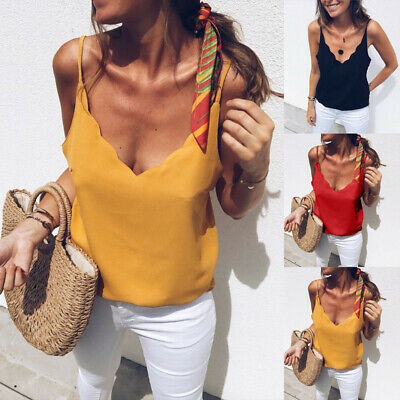 Womens Sexy V Neck Sleeveless Strappy Solid Blouse Tops Shirts Crop Camis CA