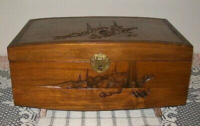 Vintage Hand Carved Wooden Japanese Jewellery Box