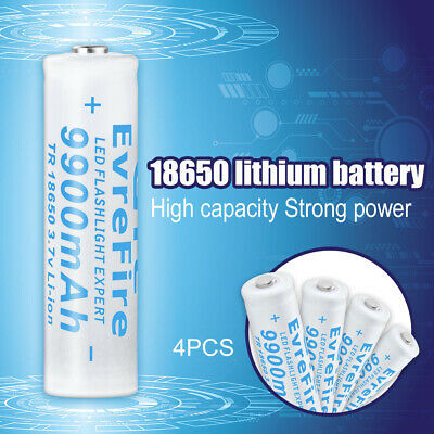 4x 18650 9900mAh Li-ion 3.7V Rechargeable Battery for LED Flashlight Torch BC939